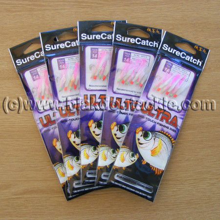 SureCatch Ultra Sabiki Rainbow Flash White/pink (5 pack)