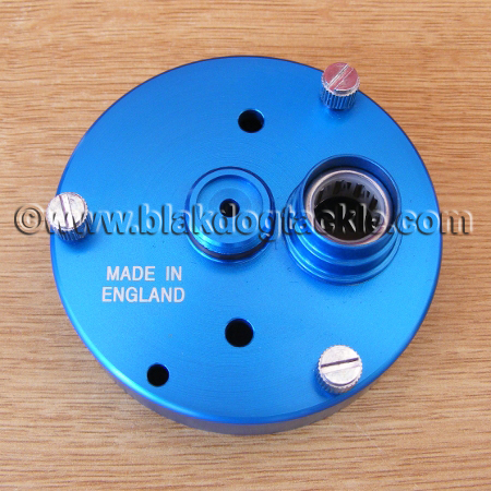 Rocket Reel Co Blue RHW Gearside Endplate